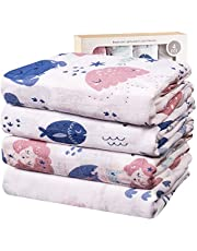 Viviland Baby Muslin Swaddle filt med presentförpackning | 70 % bambu 30 % bomull mottagande filt | 4 paket 120 x 120 cm