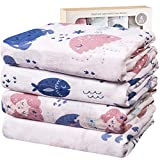 Viviland Baby Muslin Swaddle Blanket for Newborn Boys and Girls   70% Bamboo 30% Cotton Receiving Blanket Swaddle Wrap with Gift Box   4 Packs, 47 X 47 inch, Mermaid,Shells,Fish,Jellyfish…