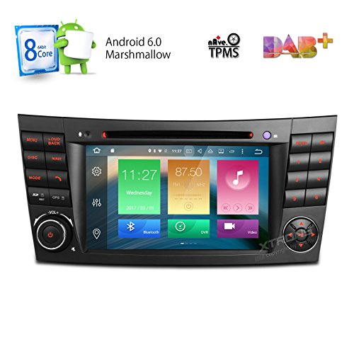 XTRONS Android 6.0 Octa-Core 64Bit 7 Inch Capacitive Touch Screen Car Stereo Radio DVD Player GPS CANbus Screen Mirroring Function OBD2 Tire Pressure Monitoring for Mercedes-Benz E-Class W211
