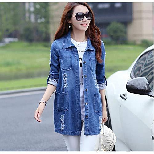 NZJK basislegende lange jeans jas vrouwen pakken gescheurde denim jas Femme elegante wijnoogst uitgevrande jassen outwear S ab