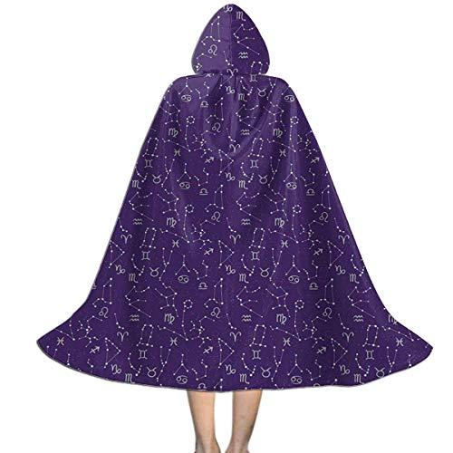 KDU Fashion Disfraz De Mago,Astrologa Horscopo Signos Cosmic Galactic Kids Wizard Cloak Cape, Impresin De Disfraces De Bruja para Halloween Cosplay,88cm