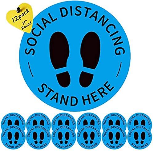 Social Distancing Floor Stickers,12 Pack Sociale Afstand Floor Decal Stickers,Sociale Distancing Floor Decals voor Kruidenier Ziekenhuizen Bank en Menigte Control Guidance (Blauw)