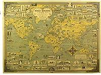 アンティーク風 世界地図 ポスター レトロ 雑貨 インテリア お部屋 お店 模様替え に (タイプA)
