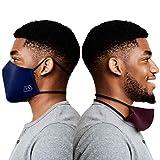 Atmungsaktive masken mundschutz waschbar - 3er-Pack Boxere mund und nasenschutz Maske aus feinem Baumwolle mit Kopfbändern - Bequeme Gesichtsmaske für Damen und Herren (schwarz, blau und feige)