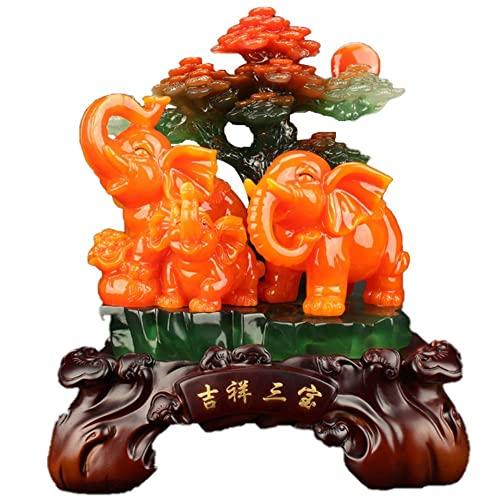 Elefant Geschenke Figur Statue, Harz Elefant Familie Reichtum Wohlstand Skulptur Home Home Office Business Dekoration