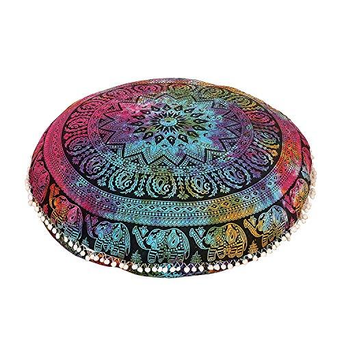 AAKARSHAN 81,3 cm Elefanten-Mandalamulti Batik-Boho-Kissen Sitzkissen Überwurf Überwurf Überwurf Mandala Hippie Dekorative Bohemian Boho Ottoman Pom-Pom-Kissenbezüge