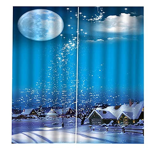 Cortinas Salón Luna de ensueño Azul Noche Nevada Cortinas Aislantes Termicas Opacas para-2 Pieza,Térmico Reducir Ruido Hogar Dormitorio Sala Estar Oficina Cocina, Cortinas Tacto Suave