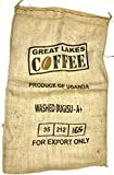 Burlap Coffee Bags Two Used Large Uganda Coffee Sacks with Artwork