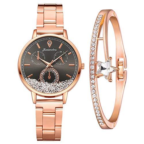 Damenuhr Roségold Uhr Minimalistisch Damen Armbanduhr Paar Uhren Elegant Wasserdicht Armbanduhr Lässige Uhren für Frauen Mädchen Ultradünne Set mit Armreif(Schwarz)
