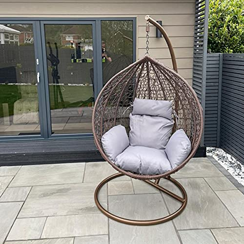 CGC Brown Hand Weaved Rattan Rust Proof Egg Swing Chair Large Grey Luxury Cushion Round Shape Outdoor Garden Patio Indoor Hanging