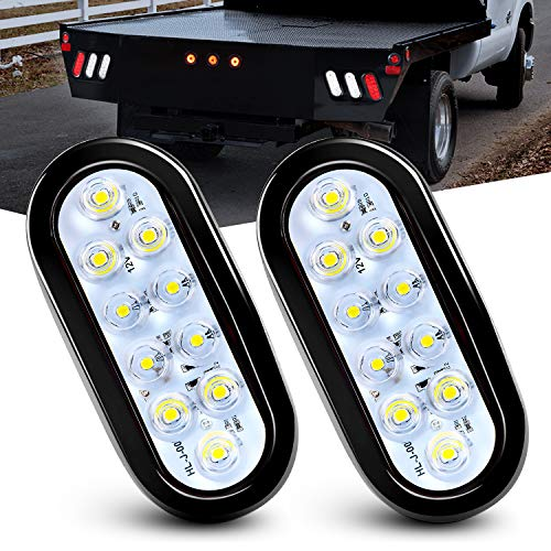 Nilight - TL-09 6 Inch Oval White LED Trailer Tail Lights 2PCS 10 LED w/Flush Mount Grommets Plugs IP67 Waterproof Reverse/Back Up Trailer Lights for RV Truck Jeep, 2 Years Warranty
