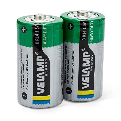 Velamp R14/2BP Set 2 Batterien R14 Half Heavy Duty, Taschenlampen, Radios, Fernbedienungen, 1.5 V, Grün