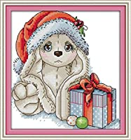 簡単で面白いパターンの大人向けのスタンプクロスステッチキット クリスマスパピー DIY 刺繍 初心者向け ニードルポイント スターターキット 家の装飾 ギフト(16×20インチ)11ct