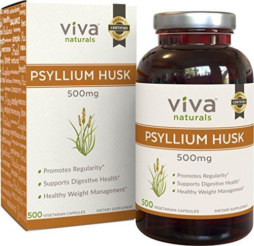 Viva Naturals Organic Psyllium Husk, 500mg, 500 Vegetarian Capsules (Capsules)