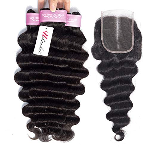 Brazilian Loose Deep Wave Human Hair Bundles with Closure 10A Virgin Unprocessed Human Hair Bundles (18 20 22+16) Mink Loose Deep Curly Hair Weave Bundles Natural Color Remy Hair Extensions