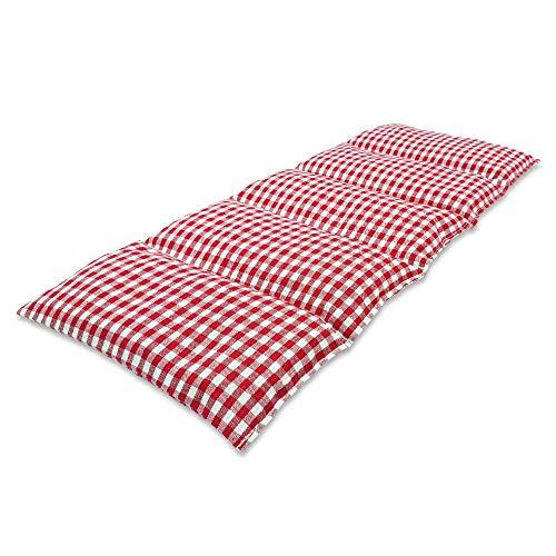 Cuscino Termico flessibile con Noccioli di Ciliegia 50x20 cm - Prodotto in Germania - Imbottitura: 900 grammi di Ossi di Ciliegia; Fodera: 100% Cotone (rosso a scacchiera)