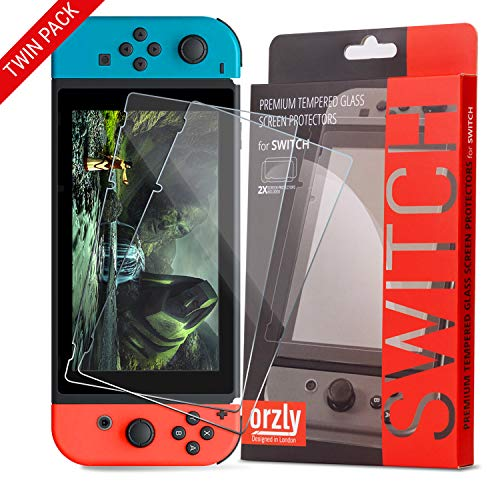 Orzly Glass Screen Protectors compatible with Nintendo Switch - Premium Tempered Glass Screen Protector TWIN PACK [2x Screen Guards -...