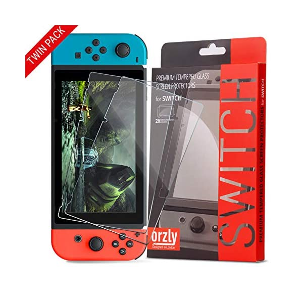 Orzly Glass Screen Protectors compatible with Nintendo Switch – Premium Tempered...