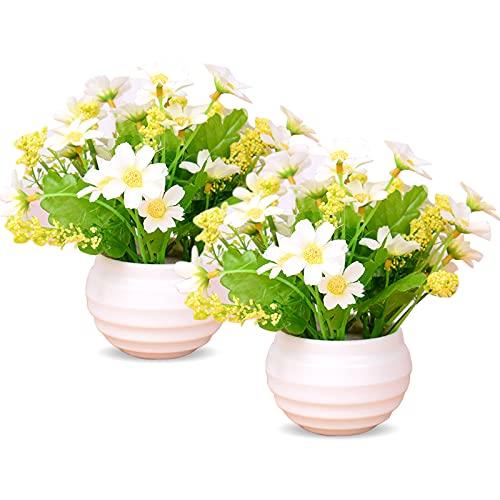Mlysnd Fleurs Artificielles, 2 Pièces Fleur Artificielle Exterieu Réaliste Chrysanthème Artificielle avec Pot de Fleur pour la Décoration de Mariage, Bureau, Jardin, Maison (Blanc Crémeux)
