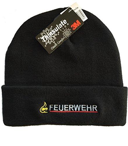 feuer1 Atmungsaktive Schwarze Pudelmütze Feuerwehr BaWü mit Stauferlöwe Bestickt, 3M-Thinsulate Insulation