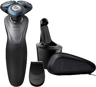 Philips Serie 7000 S7970/26 Máquina de afeitar, cuhillas confort para la piel sensible, uso en seco/húmedo, sistema SmartClean, 50 min de batería, recortador de precisión y funda de viaje, gris/negro