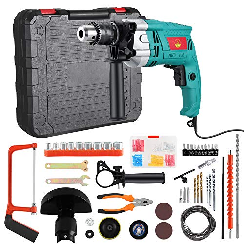 Anbull Hammer Drill Kit, 66Pcs Corded Drill Driver Set, 3800 RPM Double Drill Modes, with Variable Speed Trigger, Auxiliary Handle,Carrying Case for Home Improvement & DIY Project