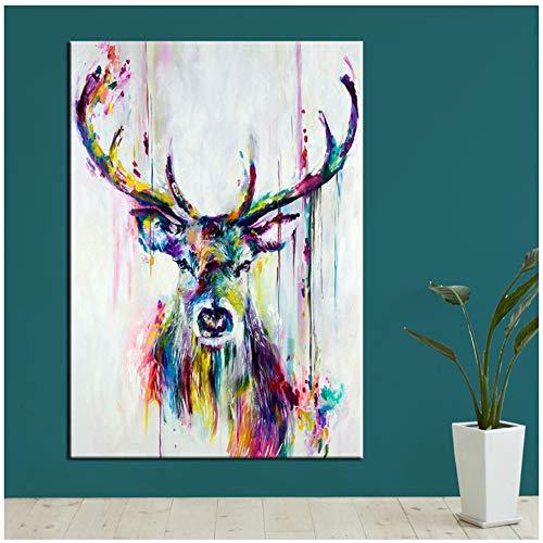 HYFBH Tier Malerei Bunte Hirsche Leinwand Wandbilder für Wohnzimmer Büro Schlafzimmer Moderne Leinwand Ölgemälde Poster-60x90 cm Mit Rahmen