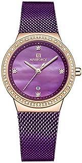 ساعة بمينا ارجواني اللون وسوار ستانلس ستيل شبكي وعرض انالوج للنساء من نافي فورس، موديل NF5005-RGPE