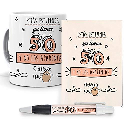 mundohuevo Pack Original y Personalizado para Regalo, Ideal para cumpleaños y Eventos. Ya Tienes 50 y no lo aparentas. Libreta, boligrafo y Taza Maxima Calidad.