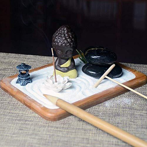 AMYZ Meditación Jardín Zen,Meditación Jardín Zen Jardín Zen Fengshui Elaboradamente Estatua de Jardín Zen Buda Meditación en la Arena Tranquilo Relax Yoga Decoración Set Patio Cultura Paisaje Mes