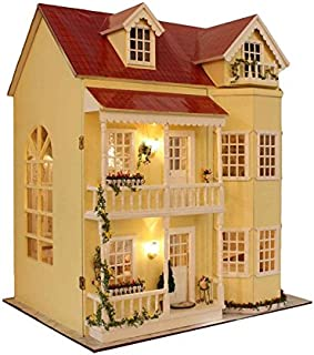 TAC STORE DIY Dollhouse Wooden Miniature Furniture Kit -Home Deco r-3D Wooden Puzzle Playset - with LED Best Birthday Gifts for Boys Girls Friends Mom Women (A)