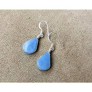 Blue Celestite Silver Tear Drop Shape Handmade Earrings