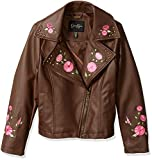 Jessica Simpson Girls' Big Faux Leather Moto Jacket, Brown, 10/12