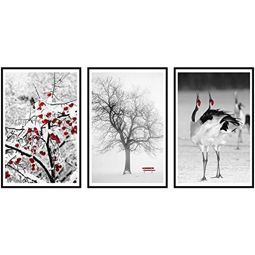WJY Árbol frutal y grúa coronada roja Especial Pintura en Lienzo Minimalismo Carteles e Impresiones Imágenes de Pared para la decoración de la Sala de Estar 35cm x50cm x3p Sin Marco