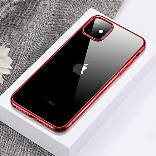 WANTONG Funda de Piel For iPhone 11 Flash Serie Chapado Transparente Anti-Huella Digital de Cobertura Total contra la caída del teléfono Caja Protectora Suave (Negro) (Color : Red)