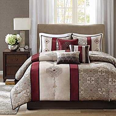 Madison Park Donovan Queen Size Bed Comforter Set Bed In A Bag - Taupe, Burgundy, Jacquard Pattern – 7 Pieces Bedding Sets – Ultra Soft Microfiber Bedroom Comforters