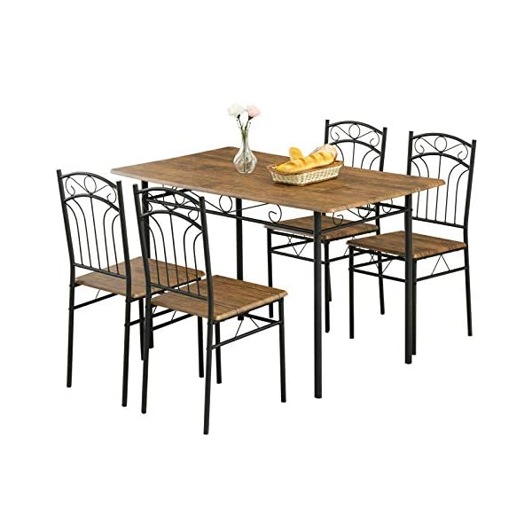 mecor 5 Piece Dining Table Set, Vintage Wood Tabletop Kitchen Table w/ 4 Chairs with...