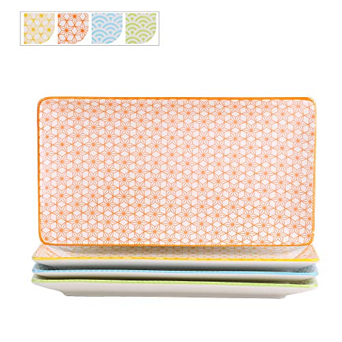 Vancasso Servierplatten Porzellan, Natsuki 4 teilig rechteckige Teller Set aus Porzellan, Servierplatte Geschirr