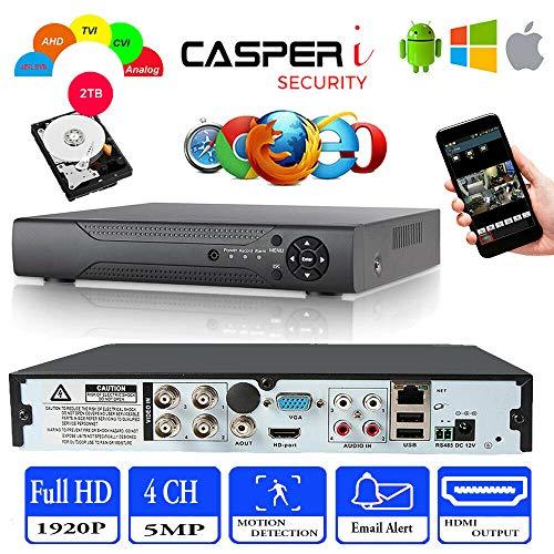 Casperi CCTV DVR 4CH 5MP AHD TVI 1920P Digitaler Videorekorder HDMI BNC VGA Bewegungserkennung E-Mail-Alarm Fernzugriff – funktioniert für 5MP/4MP/1080P AHD/TVI/CVI Kamera
