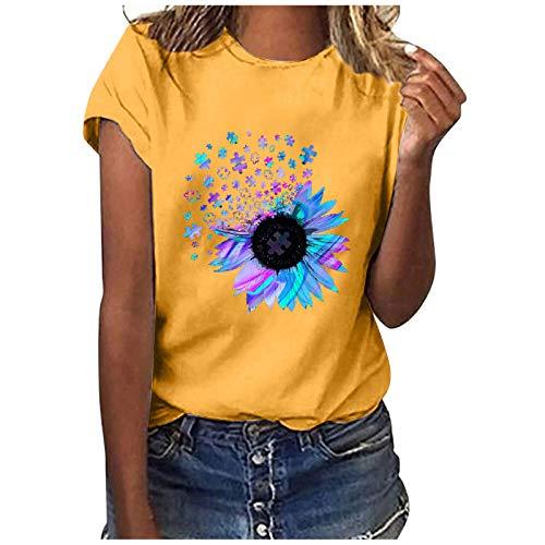 T Shirt Damen Kurzarm Elegant Sommer Oversize Oberteile Bluse Rundhals Sonnenblume Graphic Drucken Casual Basic Shirts Mode Pullover Sweatshirt Tunika Tops für Frauen Teenager Mädchen (H, M)