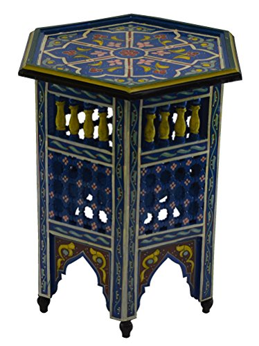 Moroccan Handmade Wood Table Side Moucharabi Delicate Hand Painted Blue Exquisite