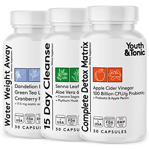 3pk Detox Cleanse Kick Off Weight Management | Colon Cleanser + Water Loss Pills w Dandelion + ACV Full Body Detox + Probiotics | Flat Stomach & Waist Line Reduction|Restart Metabolism Bloating Relief
