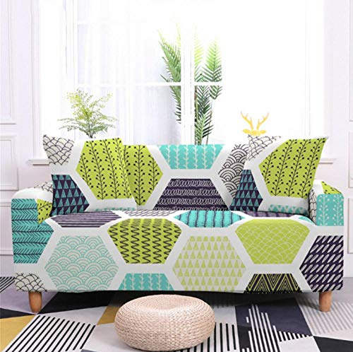 Slipcover 3 Seater Green gray geometric Sofa Cover Stretch Elastic Loveseat with Free Two Pillowcases Printed Sofa Furniture Decorative Soft Couch Covers Chair Protector Sofa Covers for Pets