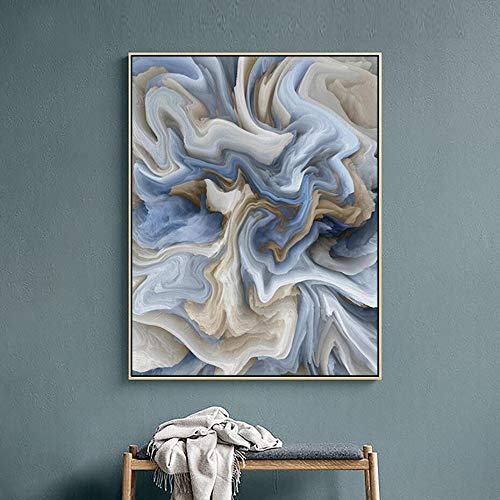wZUN Pintura de Lienzo de Textura de mármol Abstracta Cartel de Imagen de Arte de Pared único y decoración de Interiores de Sala de Estar 60x80 Sin Marco