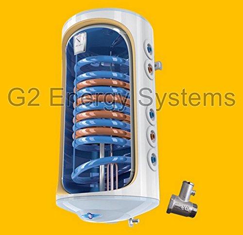 wandhängender elektrischer Warmwasserspeicher Kombispeicher mit 1 oder 2 Wärmetauscher 2000 Watt Heizleistung - druckfest 230 Volt/ 50 Hz inkl. Sicherheitsventil und Wandhalterung