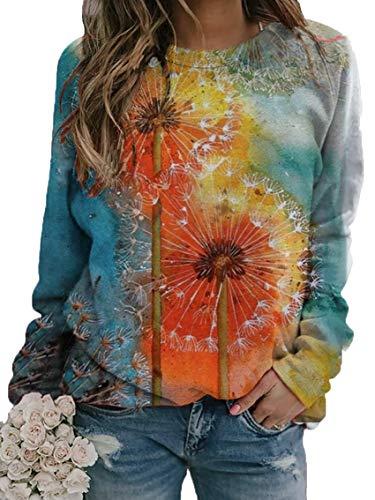 LaiYuTing Maglione Stampato 3D Tie-Dye A Girocollo Sciolto da Donna Autunno E Inverno