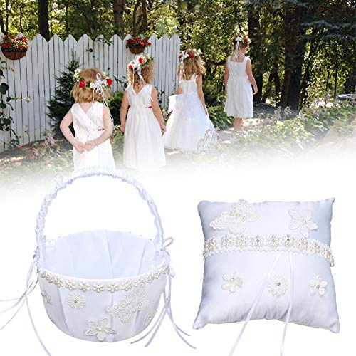 Leichtes Ringkissen, künstliche Blume Hochzeitsdekoration, Brautaccessoires Wohnkultur für Hochzeitsfeier(Flower basket + ring pillow)