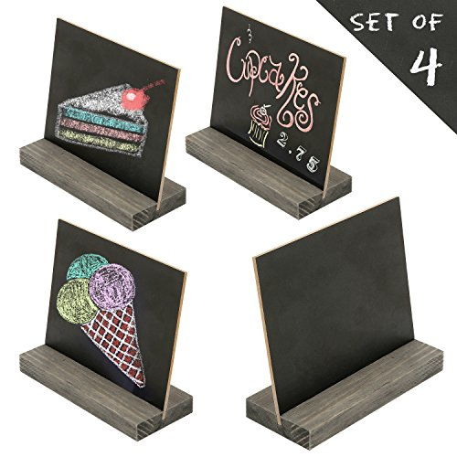 MyGift 5 X 6 Inch Mini Tabletop Chalkboard Signs with Rustic Brown Wood Base Stands, Set of 4
