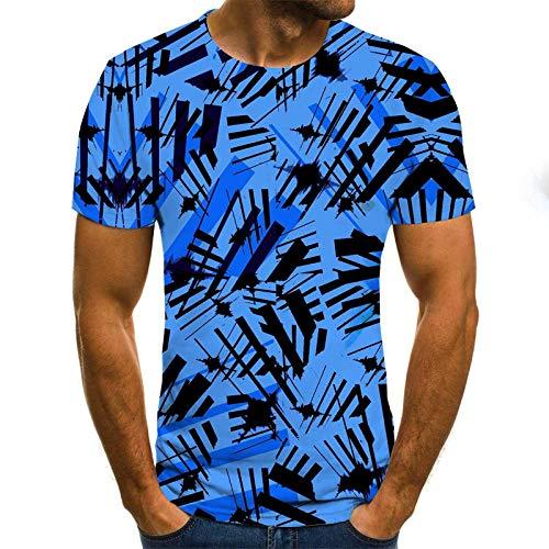 HUITAILANG Camisetas Hombre Gráfico 3D, Camisetas Divertidas, Tinta, Manga Corta Talla Grande Suelta, Azul, Mediano