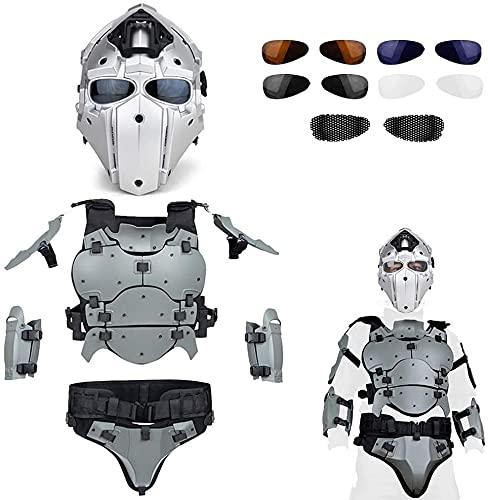 Airsoft Gafas Protectoras De Cara CompletaCasco Terminator + Conjunto De ArmaduraTácticaChalecoTáctico Militar AirsoftChaleco Moire Chaleco De Paintball